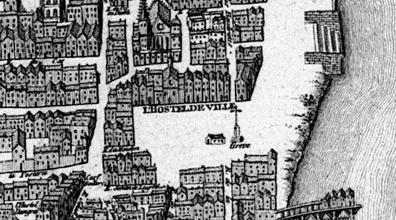 place de grève extrait du plan Saint Victor de 1550