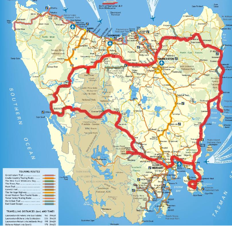 Road trip tasmanie carte