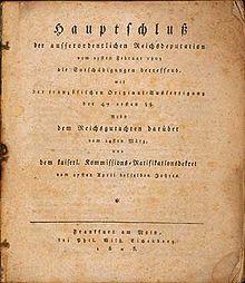 Titelseite des Reichsdeputationshauptschlusses vom 25. Februar 1803