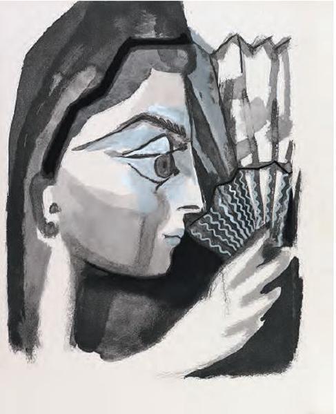 Femme de profil à l'eventail, Pablo Picasso, 1964, ilustração do livro Le Carmen des Carmen de Prosper Mérimée e Louis Aragon (1964), coleção Fundação Bancaja.