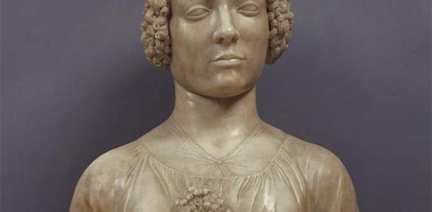 Busto de uma mulher segurando um buquê, Andrea del Verrocchio