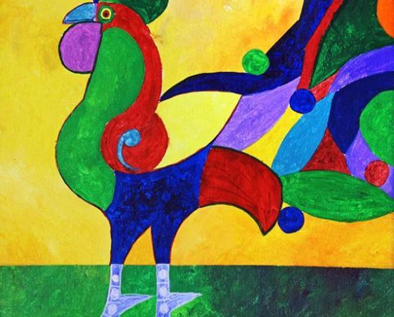 Pintar um galo colorido ao estilo de Aldemir Martins
