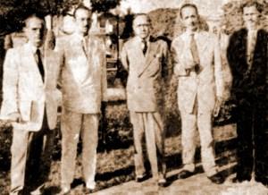 Da esquerda para a direita: Carlos Moliterno, Sílvio de Macedo, Jorge de Lima, Arnoldo Jambo e Jorge Cooper, em Maceió no dia 3 de agosto de 1951