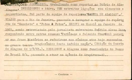 Verso da ficha de Tobias Granja no DOPSE