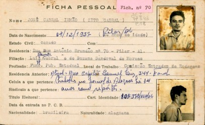 Ficha de Zito Cabral no DOPSE de Alagoas