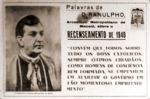 Cartaz da arquidiocese de Maceió sobre o censo de 1940
