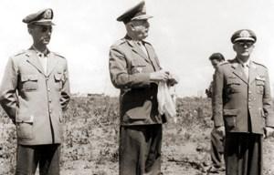 General João de Almeida Freitas, Marechal Odílio Denys e Capitão Lauro Amorim em Brasília, 1960, durante a construção da capital
