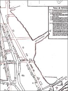 Mapa de Maceió de 1840 com a Grota do João Cardoso, onde seria construída a Ladeira do Brito