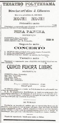 Anúncio do Polytheama no Gutemberg de julho de 1905