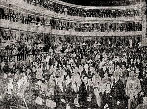 8 de abril. O Teatro Lírico lotado para a apresentação das misses. Fonte: A Noite, 9 de abril de 1929