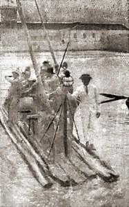 Jangadeiros saindo de Maceió no dia 27 de agosto de 1922. Foto de O Malho 7 de outubro de 1922