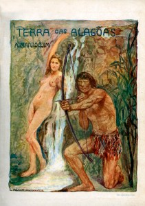 Folha de rosto do livro Terra das Alagoas ilustrada com uma aquarela de Murillo La Greca, cunhado de Ad. Marroquim