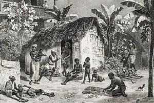 Os negros eram a maioria da população da Bahia no século XIX. Habitação de negros no Brasil Imperial, de Rugendas,