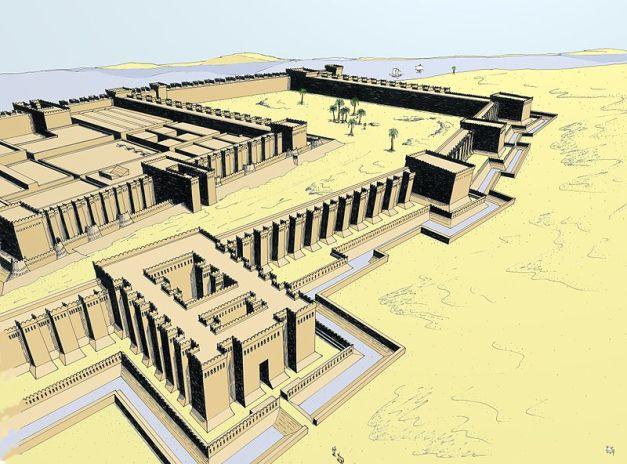 Reconstrucción del aspecto que tendría la fortaleza de Buhen, utilizada para controlar la frontera sur egipcia