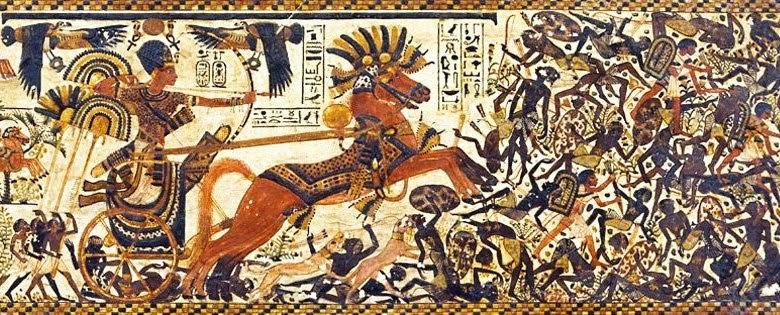 Imagen en la que se representa a Tutankhamon aplastando a sus enemigos negros y semitas, probablemente nubios e hititas