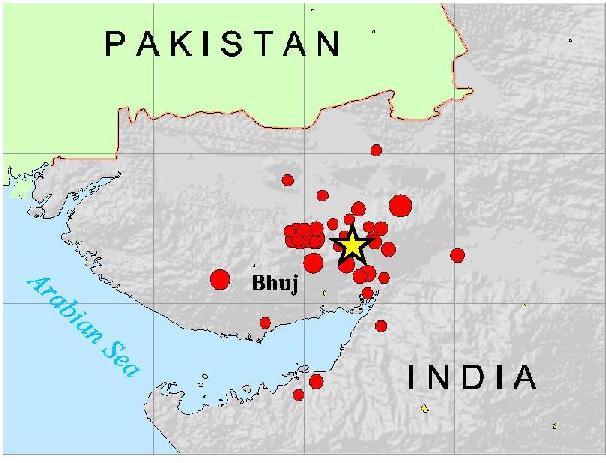 Mapa del noroeste de la India en el que se puede ver el epicentro del terremoto y sus réplicas