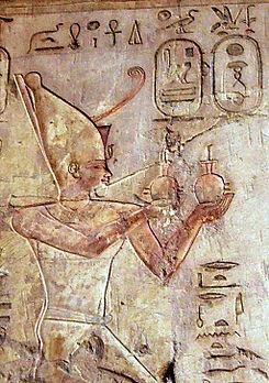 Relieve en el que se mostraría a Psamético I, iniciador de la Dinastía XXVI