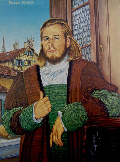 Retrato de Felix Manz, uno de los líderes del anabaptismo religioso