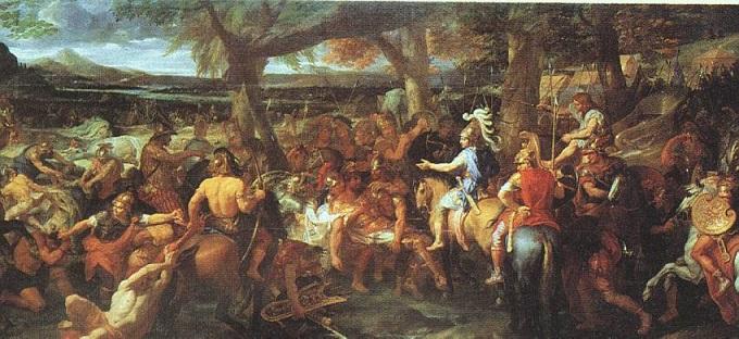 Cuadro en el que se representa a Alejandro Magno en la batalla de Hidaspos. con elefantes de fondo