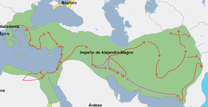 Mapa que muestra la extensión del imperio de Alejandro Magno en el 323 a.C., año de su muerte