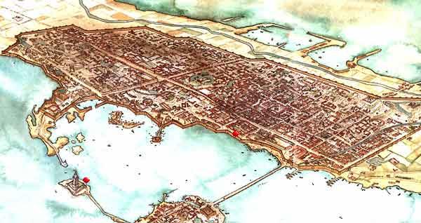 Reconstrucción de cómo debió ser la ciudad de Alejandría, fundada en la estancia de Macedonia en Egipto