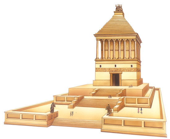 Reconstrucción de cómo debió ser el Mausoleo de Halicarnaso, inspiración para la tumba de Alejandro