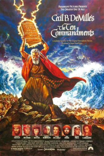 """Cartel del clásico """"Los Diez Mandamientos"""", una de las películas en las que se aborda el Moisés bíblico"""