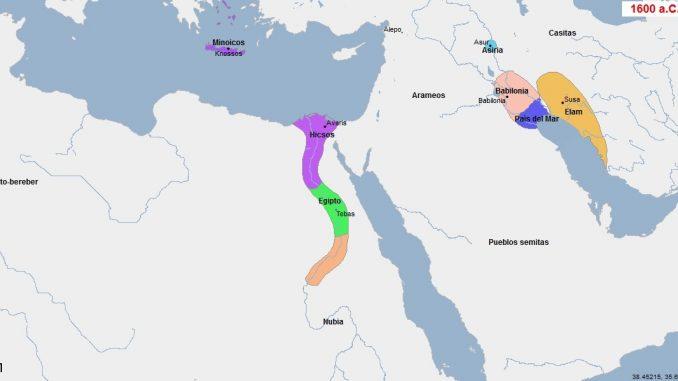 Contexto internacional durante la ocupación de los hyksos de Egipto (Geacron)