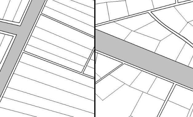 La forma de explotación de la tierra - a la izquierda la de tipo sumerio y a la derecha la de tipo acadio