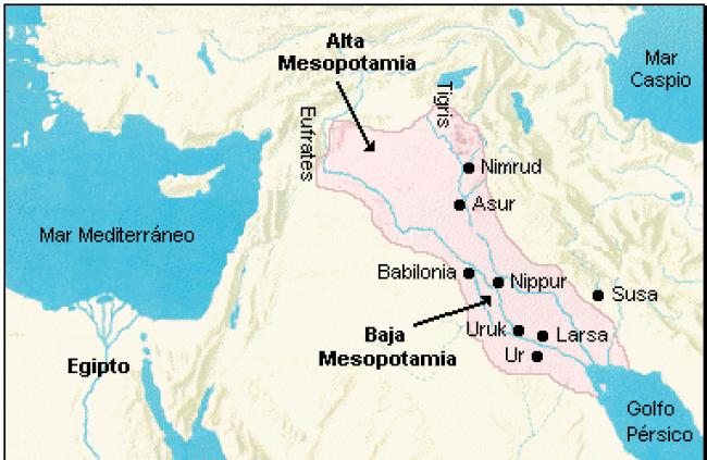 Mapa que muestra la ubicación aproximada de las dos grandes zonas de Mesopotamia