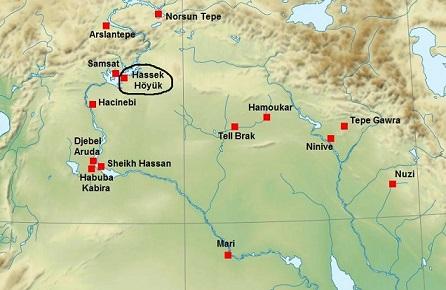 Mapa que muestra la ubicación de Hassek Hüyük