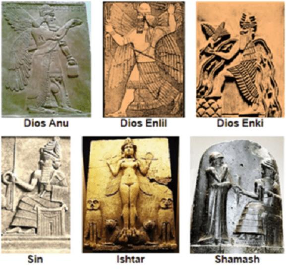 Representaciones de los grandes dioses de la religión en Mesopotamia
