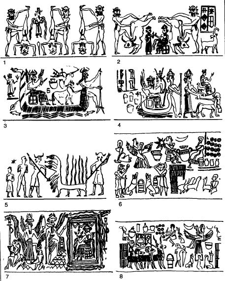 Escenas de la glíptica del periodo de Akkad, ejemplo de arte acadio
