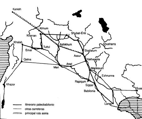 Mapa de las principales vías de comunicación en el mundo paleoasirio y paleobabilónico