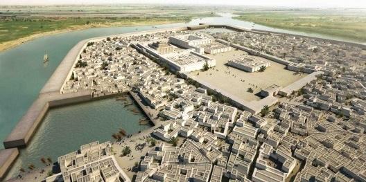 Reconstrucción aproximada de cómo sería la ciudad de Ur a finales de la III Dinastía