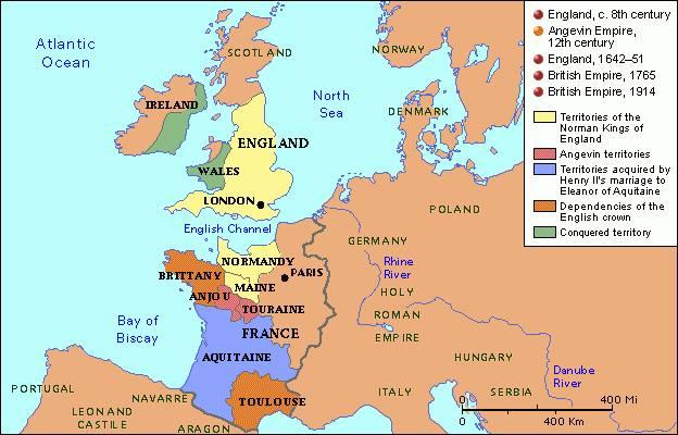 Mapa en inglés territorial de las causas de la Guerra de los Cien Años