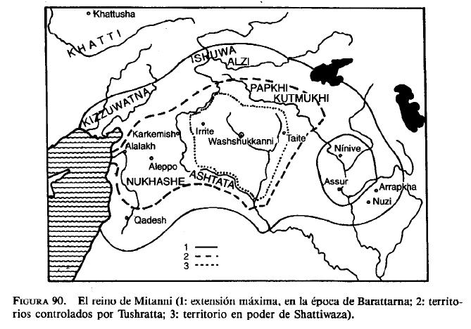 El reino de Mitanni mostrando las diversas extensiones que tuvo a lo largo de los siglos