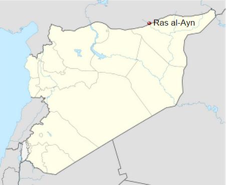 Mapa de la actual Siria que muestra la ubicación de la ciudad de Ras al-Ayn