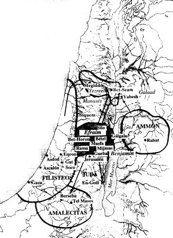 Mapa aproximado de Palestina durante la monarquía de Israel de Saúl