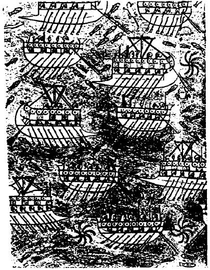 Relieve de Senaquerib (Nínive) en el que se puede ver la flota del mundo fenicio