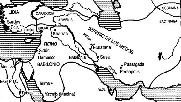 Mapa de Oriente Próximo en la primera mitad del siglo VI a.C., incluyendo el Imperio Medo