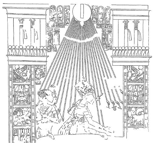 Dibujo de una escena en la que ya se ha representado a Akhenaton y Nefertiti al estilo amarniense