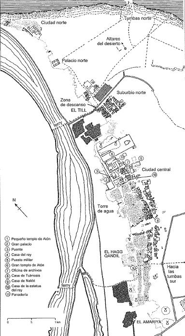 Plano numerado del yacimiento arqueológico de Amarna (Shaw, 2014)