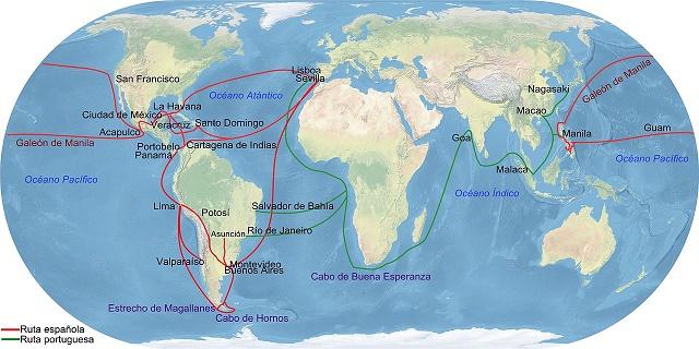 Principales rutas comerciales españolas en el comercio de Indias