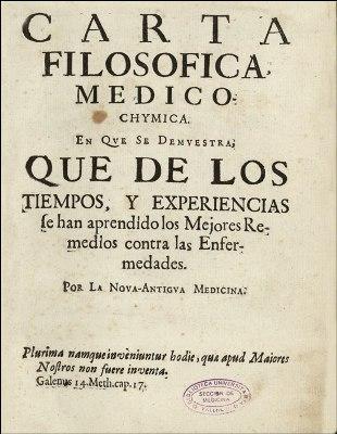Carta filosófico-médico- química de Juan de Cabriada, ejemplo de la ilustración española