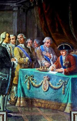 Cuadro de Carlos III firmando el tratado de libre comercio de 1778