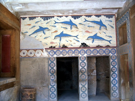 El fresco de los delfines, del palacio de Cnosos