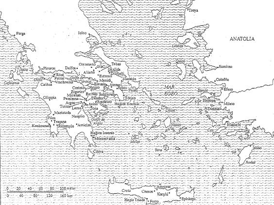 El mundo micénico en el siglo XIII aC, incluyendo el escenario de la guerra de troya