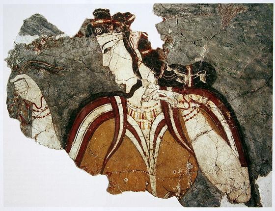 Estado actual de un fresco micénico en el que se representa una diosa de la religión micénica