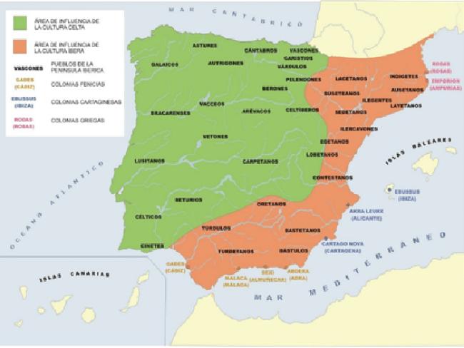Mapa de los pueblos prerromanos de la península Ibérica